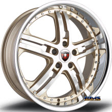 MERCELI WHEELS - M6 - Chrome Lip - machined w/ gold