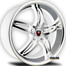 MERCELI WHEELS - M7 - Chrome Lip - machined w/ white