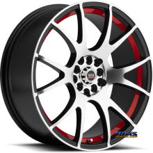 Spec 1 Wheels - SP-2 Red Inner - black gloss w/ machined