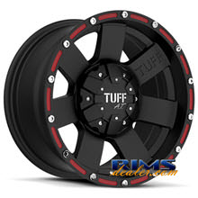 Tuff A.T Wheels - T02 - black machined w/ red stripe