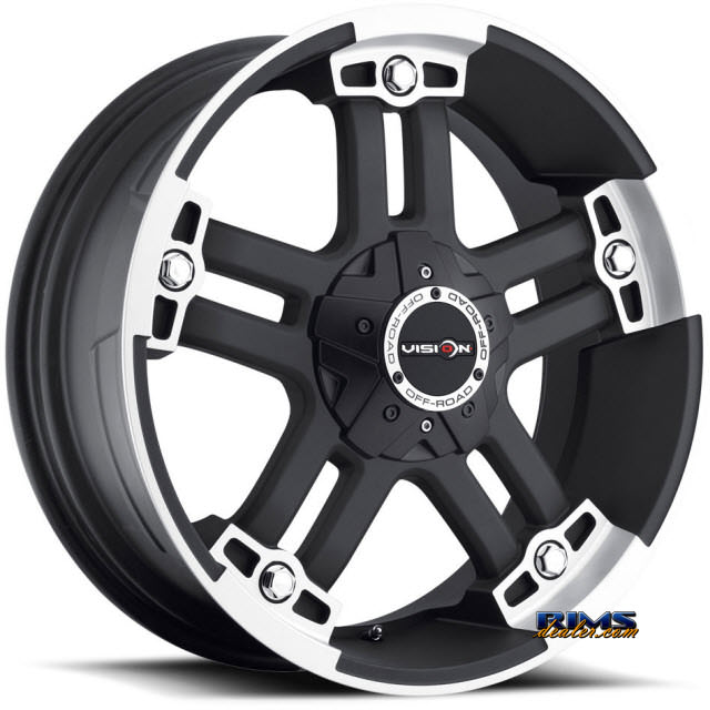 Pictures for Vision Wheel Warlord 394 black flat w/ machined