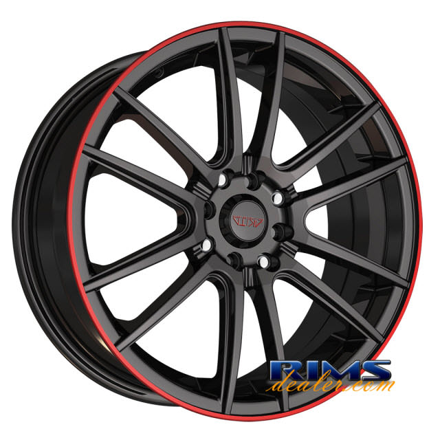 Pictures for Akita Racing Wheels AK77 black w/ red lip