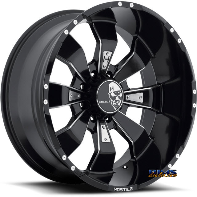 Pictures for Hostile Truck Wheels H103 HAMMERED 8 black flat w/ machined