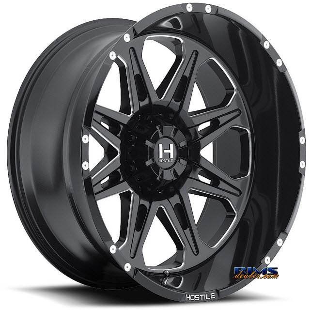 Pictures for Hostile Truck Wheels H102 - HAVOC 8 black flat w/ machined