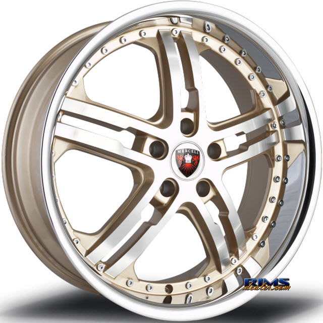 Pictures for MERCELI Wheels M6 - Chrome Lip machined w/ gold