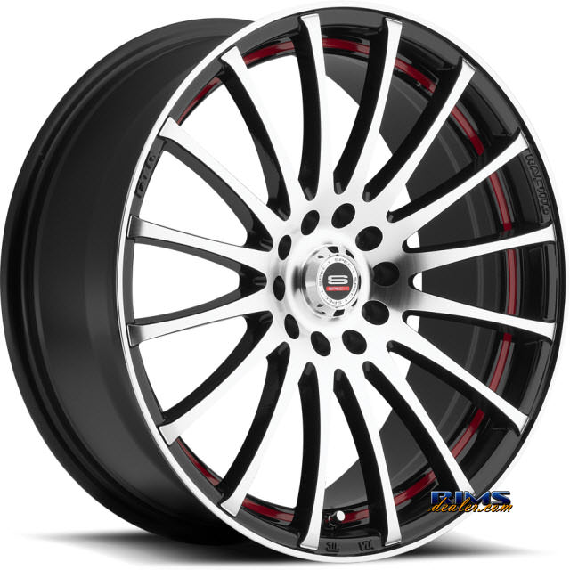 Pictures for Spec 1 Wheels SP- 12 black machined w/ red stripe