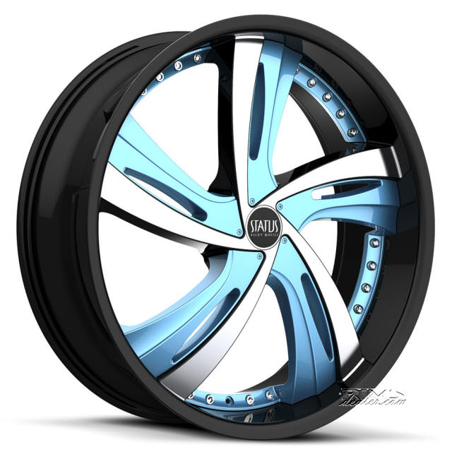 Pictures for STATUS Fantasy S835 - Custom (5-lug only) black gloss w/ blue