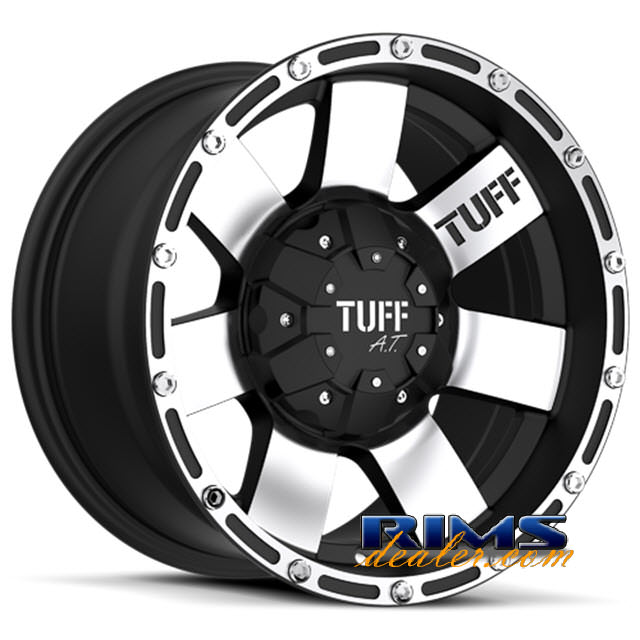 Pictures for Tuff A.T Wheels T02 black flat w/ machined