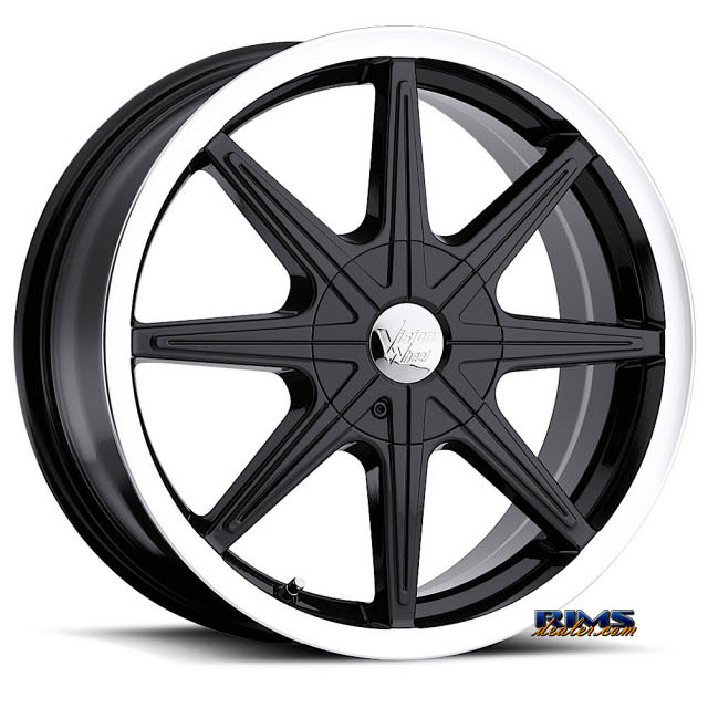 Pictures for Vision Wheel Kryptonite 378 black gloss w/ machined