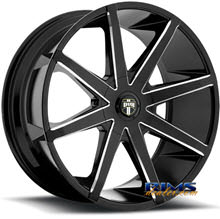Dub - S109 - Push - black flat w/ machined