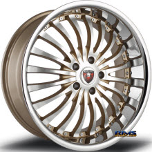 MERCELI WHEELS - M20 - Chrome Lip - machined w/ gold