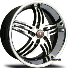 MERCELI WHEELS - M4 - Chrome Lip - machined w/ black