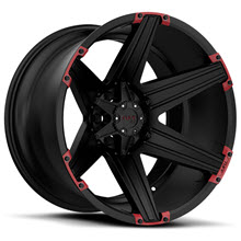 Tuff A.T Wheels - T12 - Satin Black w/ Red