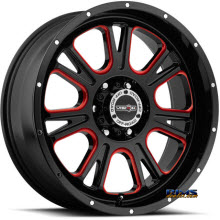 Vision Wheel - 399 Fury - Red Tint - black gloss