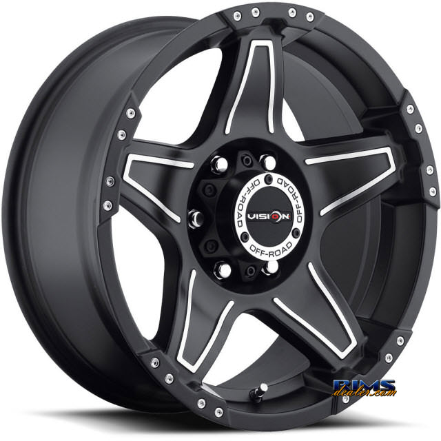 Pictures for Vision Wheel Wizard 395 black flat w/ machined