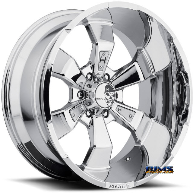 20 Inch Hostile Truck Wheels H103 Hammered 6 Pvd Chrome Hostile