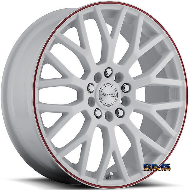 Pictures for KATANA WHEELS KRM White w/ Red Strip