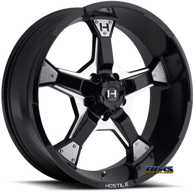 20 Inch Hostile Truck Wheels H101 Knuckles 5 Black Flat W