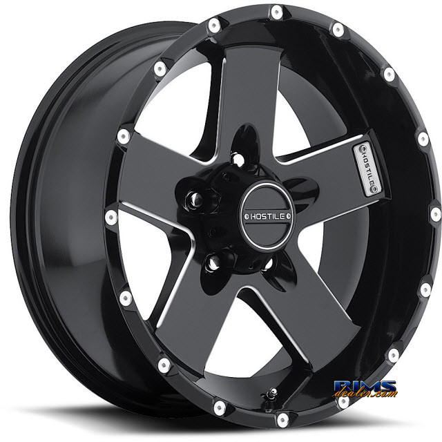 Pictures for Hostile Truck Wheels H100 - MOAB 5 black flat w/ machined