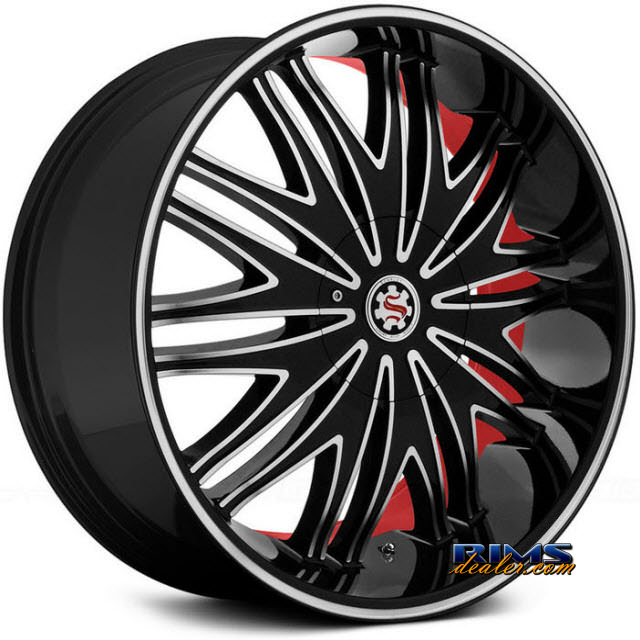 Pictures for Scarlet SW7-M Bardo black machined w/ red stripe
