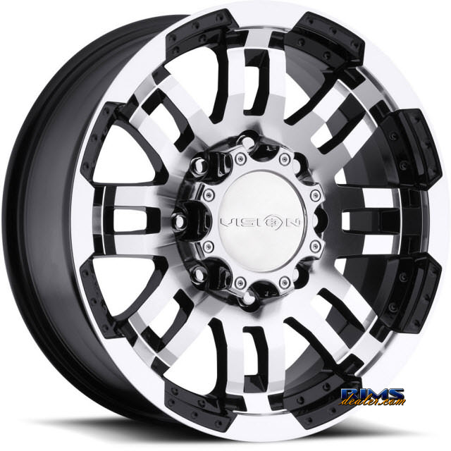 Pictures for Vision Wheel Warrior 375 black flat w/ machined