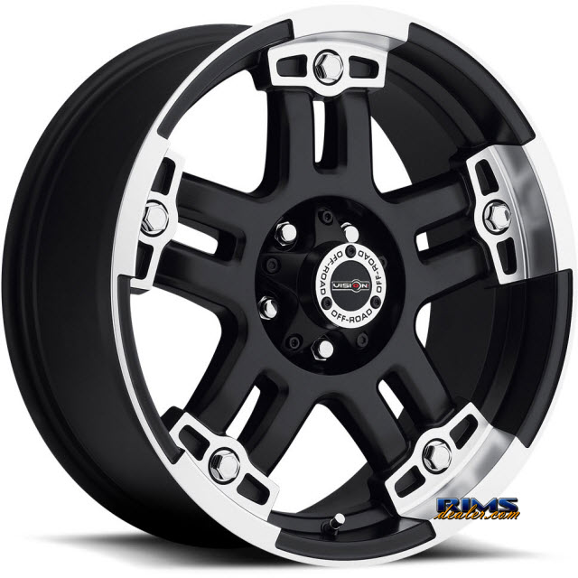 Pictures for Vision Wheel 394 Warlord - Exp Lugs black flat w/ machined