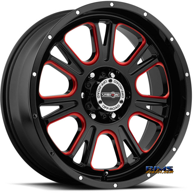 Pictures for Vision Wheel 399 Fury - Red Tint black gloss