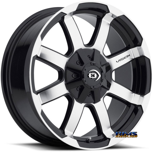 Pictures for Vision Wheel 413 Valor black gloss w/ machined