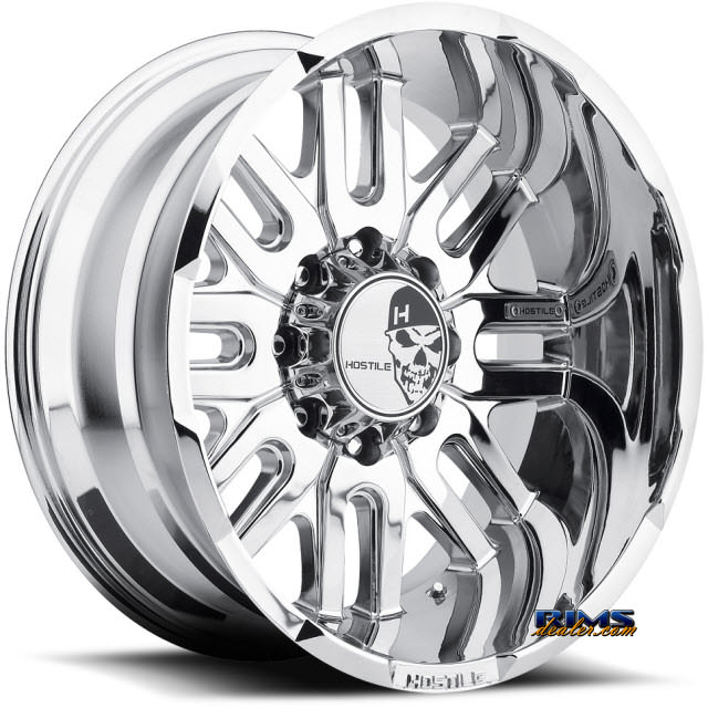 20 Inch Hostile Truck Wheels H104 Zombie Pvd 8 Chrome Hostile